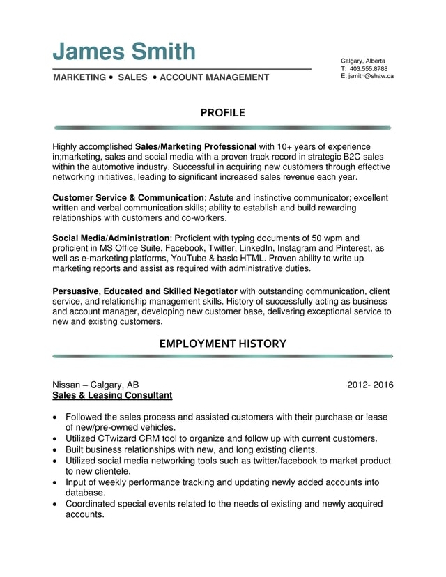 MID CAREER RESUME SAMPLES